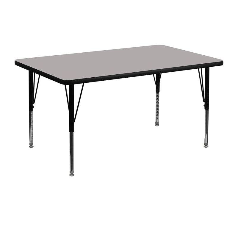 30''W x 48''L Rectangular Grey HP Laminate Activity Table - Height Adjustable Short Legs - XU-A3048-REC-GY-H-P-GG