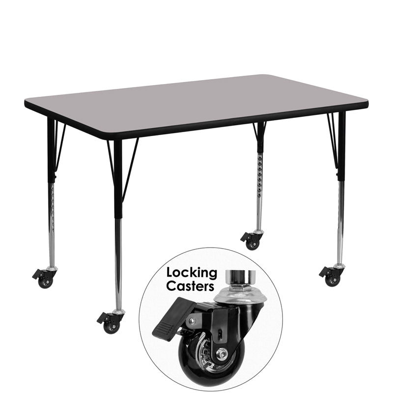 Mobile 30''W x 48''L Rectangular Grey Thermal Laminate Activity Table - Standard Height Adjustable Legs - XU-A3048-REC-GY-T-A-CAS-GG