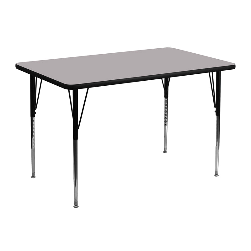 30''W x 48''L Rectangular Grey Thermal Laminate Activity Table - Standard Height Adjustable Legs