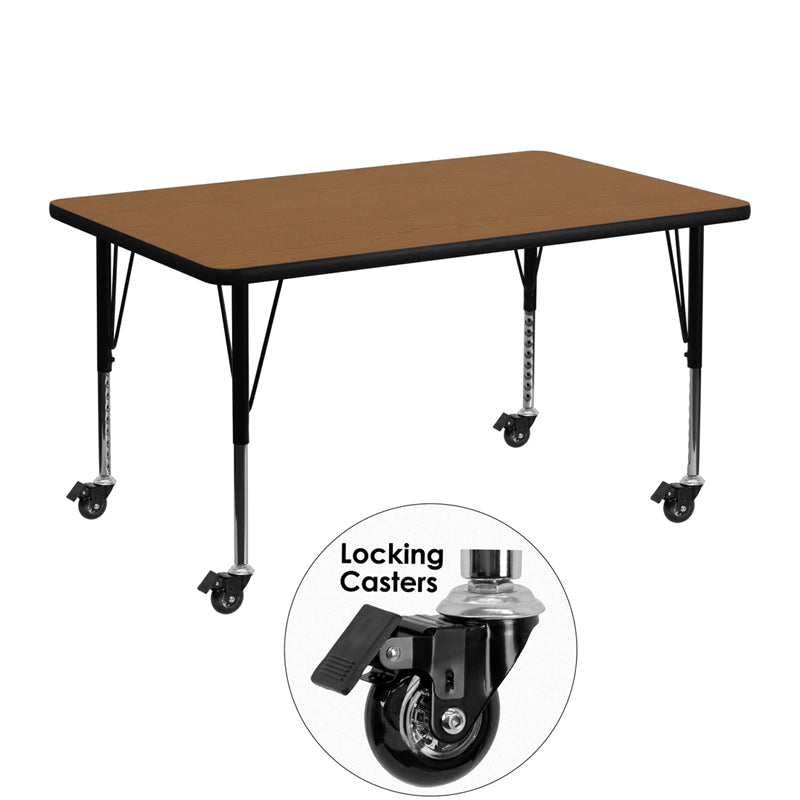 Mobile 30''W x 48''L Rectangular Oak Thermal Laminate Activity Table - Height Adjustable Short Legs