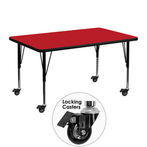Mobile 30''W x 48''L Rectangular Red HP Laminate Activity Table - Height Adjustable Short Legs