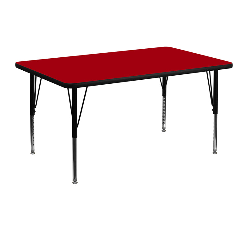 30''W x 48''L Rectangular Red Thermal Laminate Activity Table - Height Adjustable Short Legs