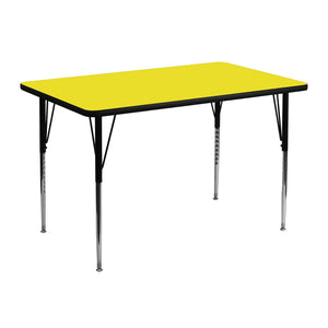 30''W x 48''L Rectangular Yellow HP Laminate Activity Table - Standard Height Adjustable Legs