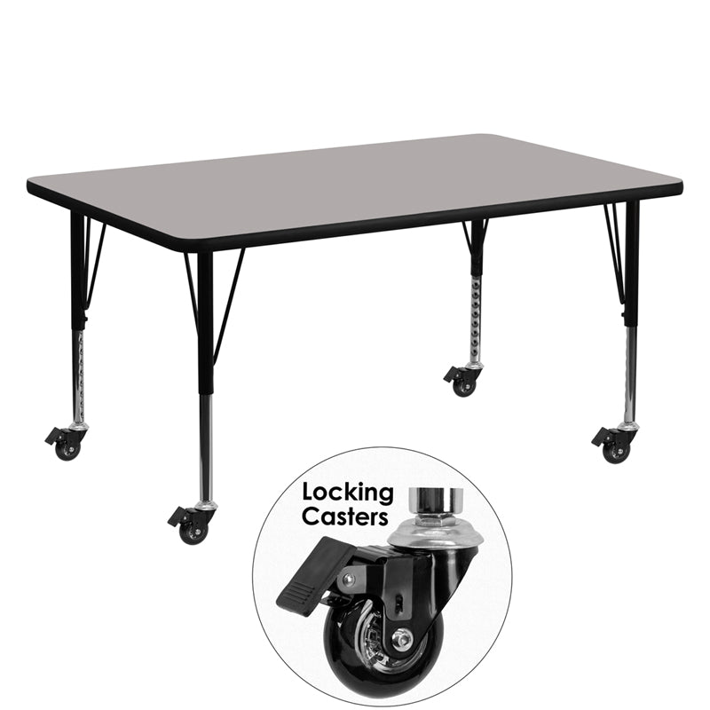 Mobile 30''W x 60''L Rectangular Grey HP Laminate Activity Table - Height Adjustable Short Legs - XU-A3060-REC-GY-H-P-CAS-GG
