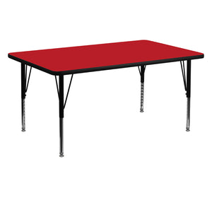 30''W x 60''L Rectangular Red HP Laminate Activity Table - Height Adjustable Short Legs