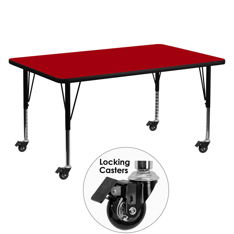 Mobile 30''W x 60''L Rectangular Red Thermal Laminate Activity Table - Height Adjustable Short Legs - XU-A3060-REC-RED-T-P-CAS-GG