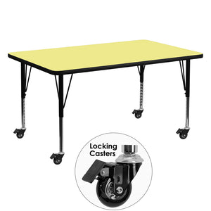 Mobile 30''W x 60''L Rectangular Yellow Thermal Laminate Activity Table - Height Adjustable Short Legs