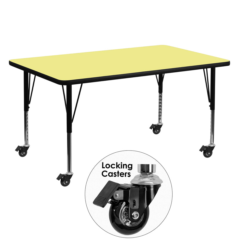 Mobile 30''W x 60''L Rectangular Yellow Thermal Laminate Activity Table - Height Adjustable Short Legs - XU-A3060-REC-YEL-T-P-CAS-GG