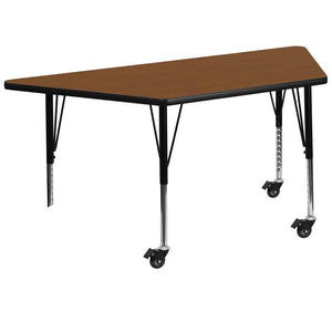 Mobile 30''W x 60''L Trapezoid Oak HP Laminate Activity Table - Height Adjustable Short Legs - XU-A3060-TRAP-OAK-H-P-CAS-GG