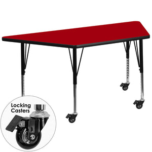 Mobile 30''W x 60''L Trapezoid Red Thermal Laminate Activity Table - Height Adjustable Short Legs