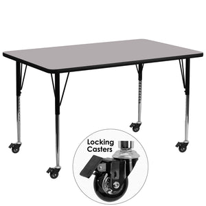 Mobile 30''W x 72''L Rectangular Grey Thermal Laminate Activity Table - Standard Height Adjustable Legs - XU-A3072-REC-GY-T-A-CAS-GG