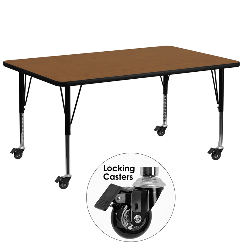 Mobile 30''W x 72''L Rectangular Oak HP Laminate Activity Table - Height Adjustable Short Legs - XU-A3072-REC-OAK-H-P-CAS-GG
