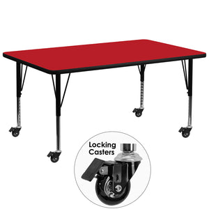 Mobile 30''W x 72''L Rectangular Red HP Laminate Activity Table - Height Adjustable Short Legs - XU-A3072-REC-RED-H-P-CAS-GG