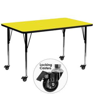 Mobile 30''W x 72''L Rectangular Yellow HP Laminate Activity Table - Standard Height Adjustable Legs - XU-A3072-REC-YEL-H-A-CAS-GG