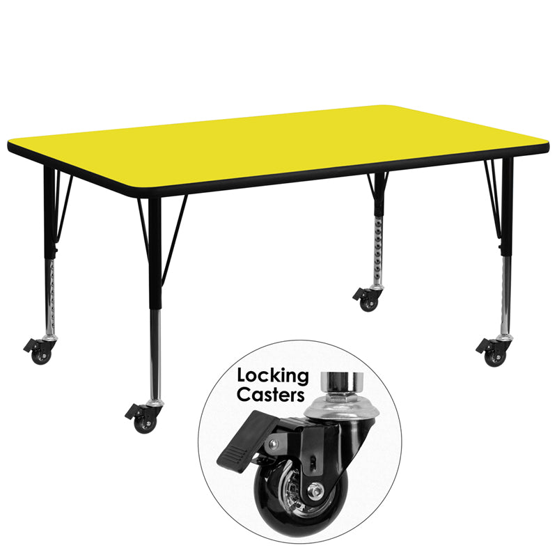 Mobile 30''W x 72''L Rectangular Yellow HP Laminate Activity Table - Height Adjustable Short Legs - XU-A3072-REC-YEL-H-P-CAS-GG