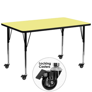 Mobile 30''W x 72''L Rectangular Yellow Thermal Laminate Activity Table - Standard Height Adjustable Legs