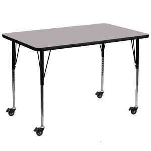 Mobile 36''W x 72''L Rectangular Grey Thermal Laminate Activity Table - Standard Height Adjustable Legs - XU-A3672-REC-GY-T-A-CAS-GG