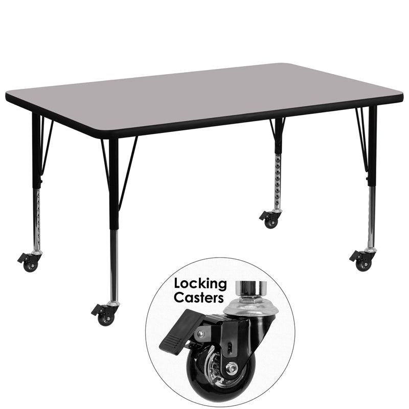Mobile 36''W x 72''L Rectangular Grey Thermal Laminate Activity Table - Height Adjustable Short Legs - XU-A3672-REC-GY-T-P-CAS-GG