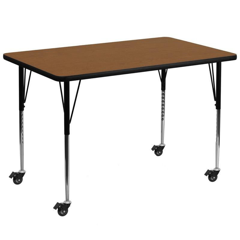 Mobile 36''W x 72''L Rectangular Oak HP Laminate Activity Table - Standard Height Adjustable Legs - XU-A3672-REC-OAK-H-A-CAS-GG