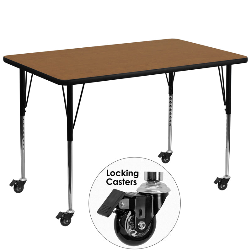 Mobile 36''W x 72''L Rectangular Oak Thermal Laminate Activity Table - Standard Height Adjustable Legs
