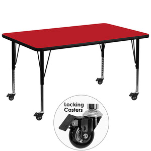Mobile 36''W x 72''L Rectangular Red HP Laminate Activity Table - Height Adjustable Short Legs - XU-A3672-REC-RED-H-P-CAS-GG
