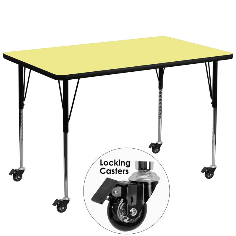 Mobile 36''W x 72''L Rectangular Yellow Thermal Laminate Activity Table - Standard Height Adjustable Legs - XU-A3672-REC-YEL-T-A-CAS-GG