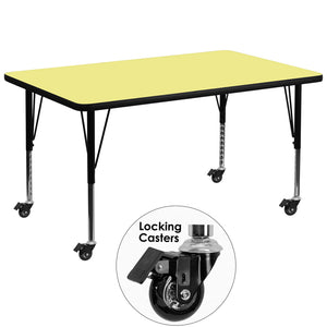 Mobile 36''W x 72''L Rectangular Yellow Thermal Laminate Activity Table - Height Adjustable Short Legs - XU-A3672-REC-YEL-T-P-CAS-GG