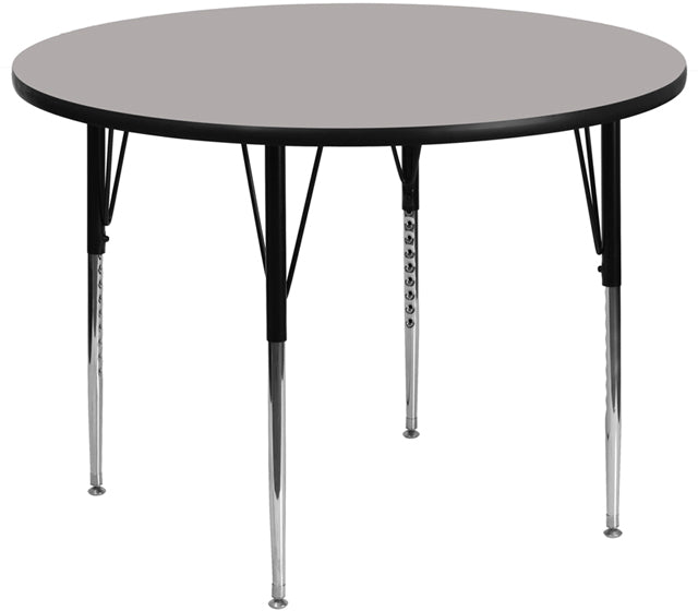 42'' Round Grey HP Laminate Activity Table - Standard Height Adjustable Legs - XU-A42-RND-GY-H-A-GG
