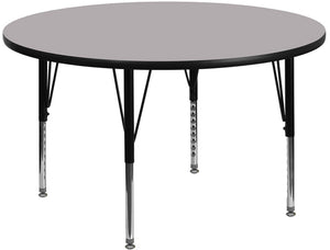 42'' Round Grey Thermal Laminate Activity Table - Height Adjustable Short Legs - XU-A42-RND-GY-T-P-GG