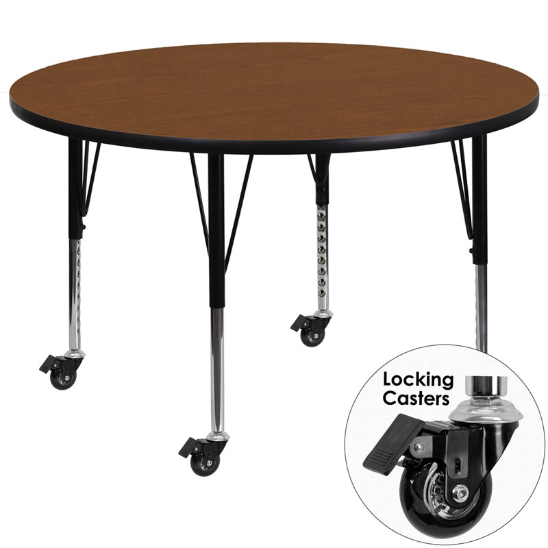 Mobile 42'' Round Oak HP Laminate Activity Table - Height Adjustable Short Legs - XU-A42-RND-OAK-H-P-CAS-GG