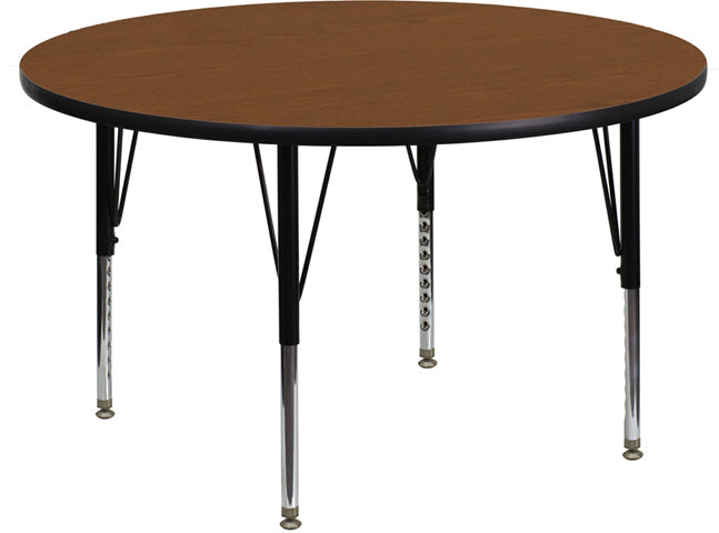42'' Round Oak HP Laminate Activity Table - Height Adjustable Short Legs - XU-A42-RND-OAK-H-P-GG