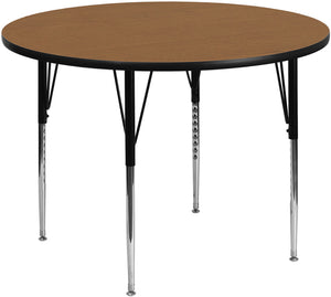 42'' Round Oak Thermal Laminate Activity Table - Standard Height Adjustable Legs