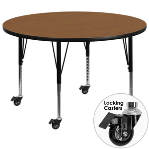 Mobile 42'' Round Oak Thermal Laminate Activity Table - Height Adjustable Short Legs