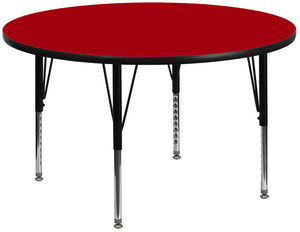 42'' Round Red Thermal Laminate Activity Table - Height Adjustable Short Legs - XU-A42-RND-RED-T-P-GG