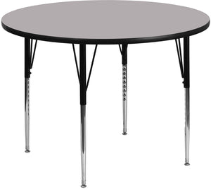 48'' Round Grey Thermal Laminate Activity Table - Standard Height Adjustable Legs - XU-A48-RND-GY-T-A-GG