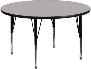 48'' Round Grey Thermal Laminate Activity Table - Height Adjustable Short Legs - XU-A48-RND-GY-T-P-GG