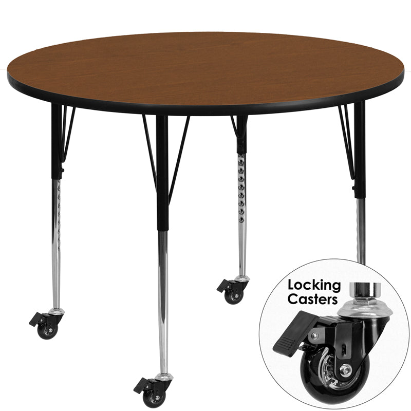 Mobile 48'' Round Oak HP Laminate Activity Table - Standard Height Adjustable Legs