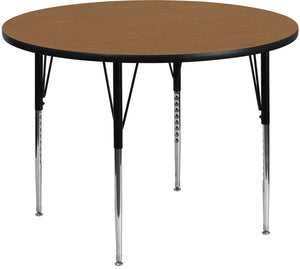 48'' Round Oak Thermal Laminate Activity Table - Standard Height Adjustable Legs - XU-A48-RND-OAK-T-A-GG