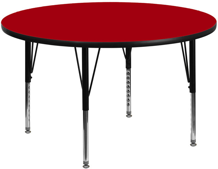 48'' Round Red Thermal Laminate Activity Table - Height Adjustable Short Legs - XU-A48-RND-RED-T-P-GG