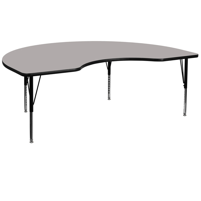 48''W x 72''L Kidney Grey HP Laminate Activity Table - Height Adjustable Short Legs