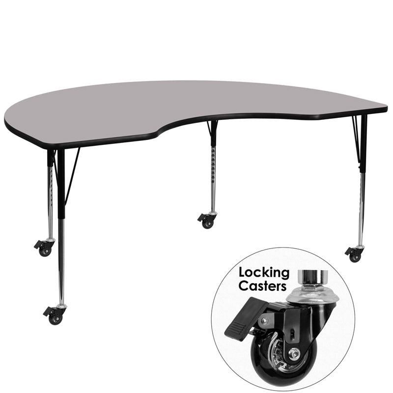 Mobile 48''W x 72''L Kidney Grey Thermal Laminate Activity Table - Standard Height Adjustable Legs - XU-A4872-KIDNY-GY-T-A-CAS-GG