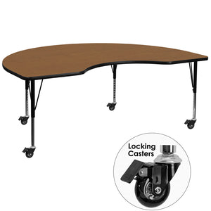 Mobile 48''W x 72''L Kidney Oak Thermal Laminate Activity Table - Height Adjustable Short Legs