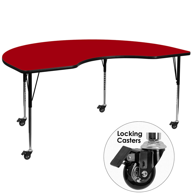 Mobile 48''W x 72''L Kidney Red Thermal Laminate Activity Table - Standard Height Adjustable Legs - XU-A4872-KIDNY-RED-T-A-CAS-GG