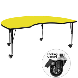 Mobile 48''W x 72''L Kidney Yellow HP Laminate Activity Table - Height Adjustable Short Legs - XU-A4872-KIDNY-YEL-H-P-CAS-GG