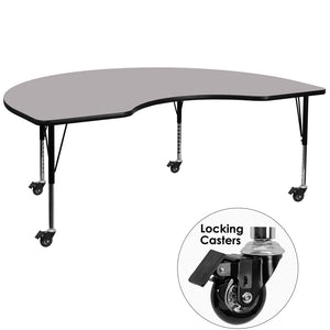 Mobile 48''W x 96''L Kidney Grey Thermal Laminate Activity Table - Height Adjustable Short Legs - XU-A4896-KIDNY-GY-T-P-CAS-GG