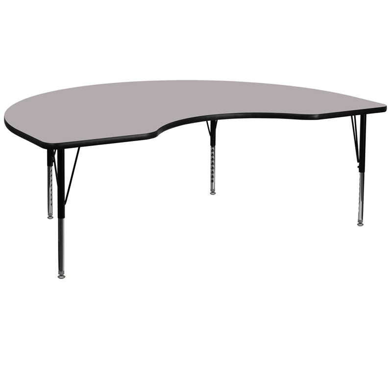 48''W x 96''L Kidney Grey Thermal Laminate Activity Table - Height Adjustable Short Legs - XU-A4896-KIDNY-GY-T-P-GG