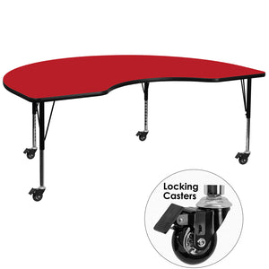 Mobile 48''W x 96''L Kidney Red HP Laminate Activity Table - Height Adjustable Short Legs - XU-A4896-KIDNY-RED-H-P-CAS-GG