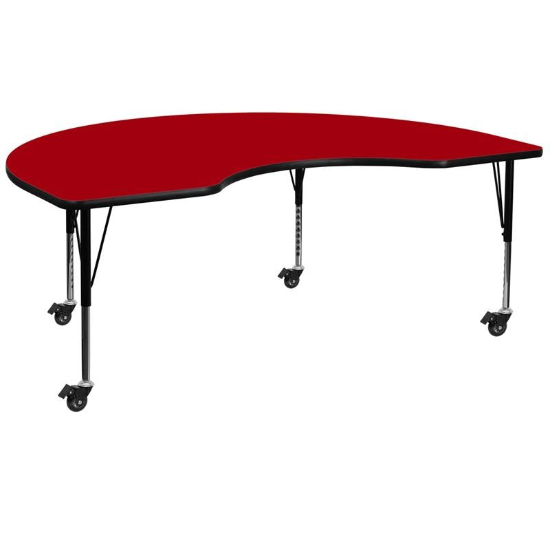 Mobile 48''W x 96''L Kidney Red Thermal Laminate Activity Table - Height Adjustable Short Legs - XU-A4896-KIDNY-RED-T-P-CAS-GG
