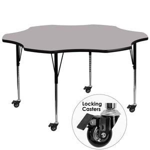 Mobile 60'' Flower Grey Thermal Laminate Activity Table - Standard Height Adjustable Legs - XU-A60-FLR-GY-T-A-CAS-GG