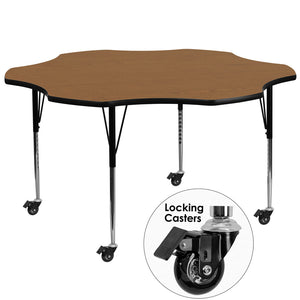 Mobile 60'' Flower Oak Thermal Laminate Activity Table - Standard Height Adjustable Legs
